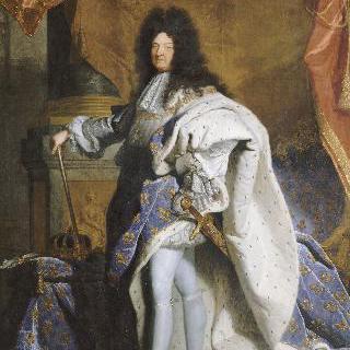 황실 복장을 갖춰 입은 63살의 루이 14세의 전신 초상
