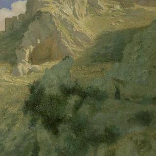 바위 산봉우리 위의 마을