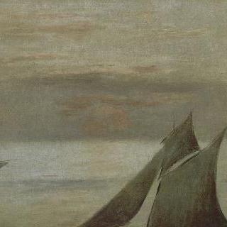 바다 위의 배들, 해지는 풍경