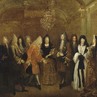 1714년 9월 27일 퐁텐블로에서 삭스의 선거후 프레데릭 오귀스트를 맞는 루이 14세