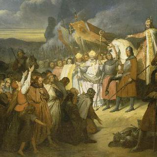 파더보른에서 색슨 왕 비티킨트의 항복을 받아내는 샤를마뉴