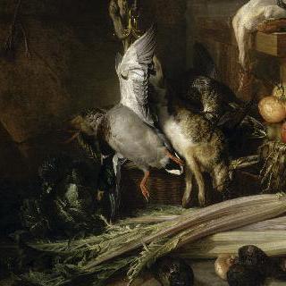 닭고기, 사냥감, 야채 그리고 과일