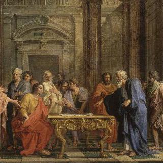 아테네 인들의 반대에 맞서 자신의 법을 지지하는 솔론