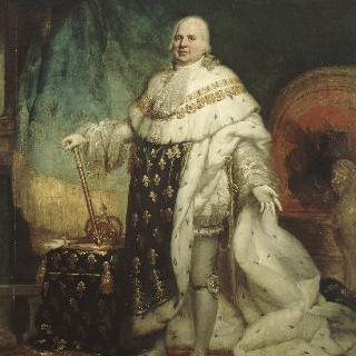 왕실 복장을 입은 프랑스의 왕 루이 18세의 공식 초상
