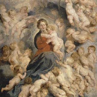 헤롯왕에게 학살당한 아기 성자들에게 둘러싸인 성모와 아기