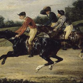 기수를 태운 말들의 경주