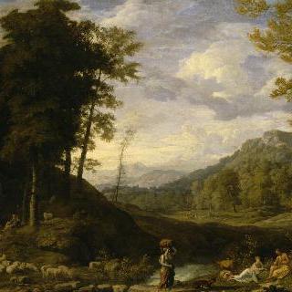 목동들과 플루트 연주자가 있는 풍경