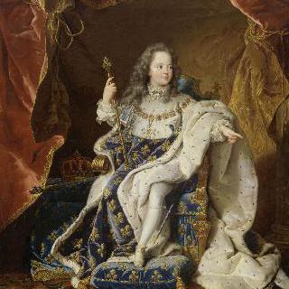 커다란 왕실 망토를 두르고 앉아있는 5살의 루이 14세, 프랑스 왕 (1710-1774)