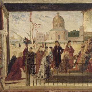 카르파치오 작품 모작 : 외교관들의 도착 (베니스 아카데미아 성 우르술라 전설)