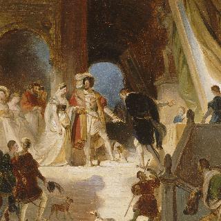 프리마티초로부터 이탈리아의 작품들을 받는 프랑수아 1세