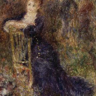 정원에 앉아있는 젊은 여인