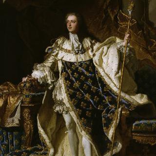 커다란 왕실 왕토를 두르고 서있는 5살의 루이 15세, 프랑스 왕 (1710-1774)