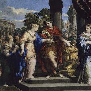 클레오파트라를 이집트의 왕으로 복권시키는 시저 이미지
