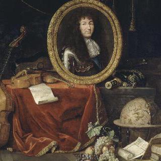 예술과 과학의 옹호자인 루이 14세의 우의화