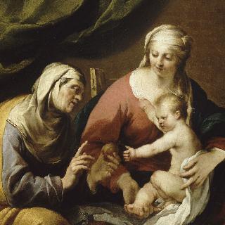 성모와 아기 예수에게 사과를 선물하는 성녀 안나