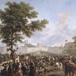 황제의 지휘를 받으며 뮌헨으로 들어오는 프랑스 군대