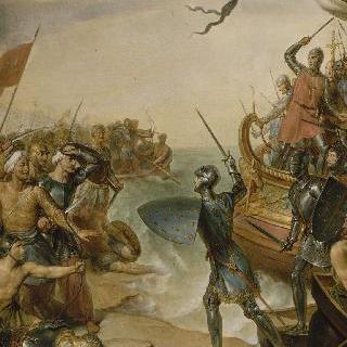 1249년 6월 4일, 이집트의 다미에트에 상륙한 성 루이