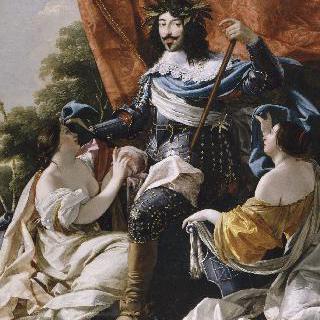 프랑스와 나바르를 상징하는 두 여인의 형상 사이의 루이 13세