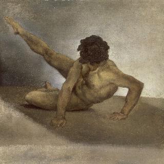 바닥에 넘어진 남자의 누드 (바르베리의 경마를 위한 인물)