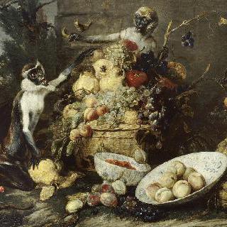 과일을 훔치는 원숭이 세마리