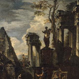 플로라 조각상과 세스티우스의 피라미드가 있는 고대 건축 폐허