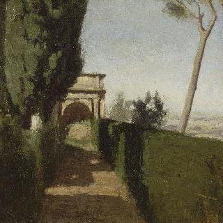 로마풍 별장이 있는 정원