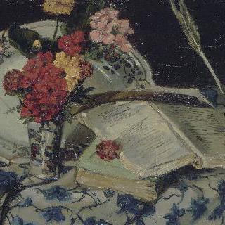 꽃과 사기그릇, 책이 있는 정물
