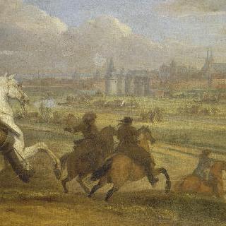 1677년 7월 쿠르트레 시에 도착한 루이 14세와 총사령관 오몽 공작