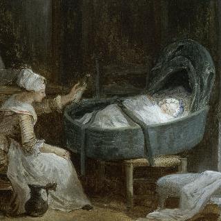 아기에게 젖병을 내미는 젊은 여인
