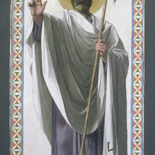성 루이 아 드뢰 성당 스테인드글라스의 밑그림 : 파리의 첫번째 주교 성 드니
