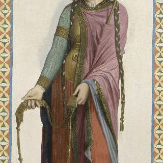 성 루이 아 드뢰 성당 스테인드글라스의 밑그림 : 성녀 바틸드 드 쉘