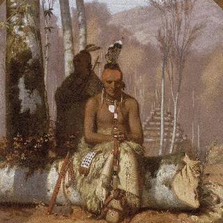 인디언의 포니족이 있는 풍경