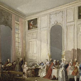 1764년 템플 성, 카트르 글라스의 살롱에서 영국식 티타임