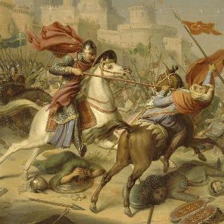 안티오슈 성벽 아래에서 무슬림 전사들과 홀로 싸우는 노르망디 공작 로베르