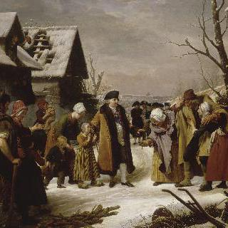 1788년 겨울, 베르사유의 가난한 이들에게 온정을 베푸는 루이 16세