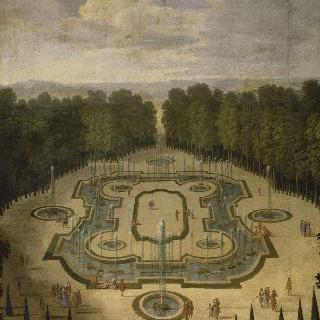 베르사유 궁전 정원의 살 데 페스탱 정원의 전경