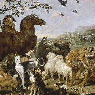 노아의 방주 안으로 들어가는 동물들