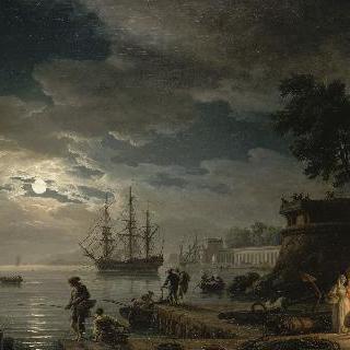 밤 : 청명한 달빛이 비치는 항구