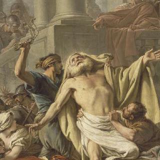 고문대에 묶인 채로 사형집행자들에게 끌려가는 성 안드레아