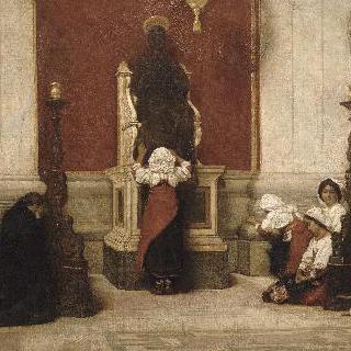 로마의 성 베드로의 동상 주변을 걷는 순례자들