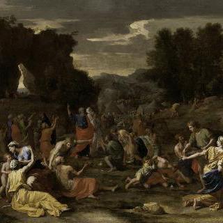 사막에서 하늘의 선물 만나를 받는 이스라엘인들