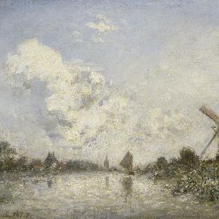 풍차와 나룻배가 있는 네덜란드 하천