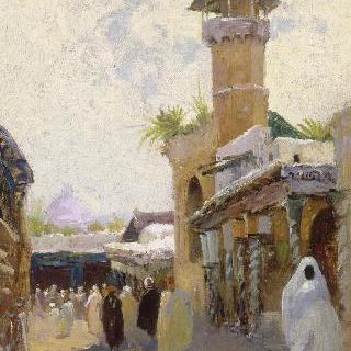 튀니지의 카스바에 있는 유셉 데이 회교 사원과 시디 벤 지아드 거리의 전경