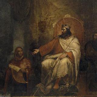 779년 프랑스 국회에 자신의 첫 법령집을 소개하는 샤를르마뉴