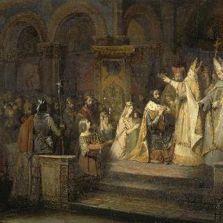 로마교황 아드리엥으로부터 왕관을 수여받는 샤를마뉴대제