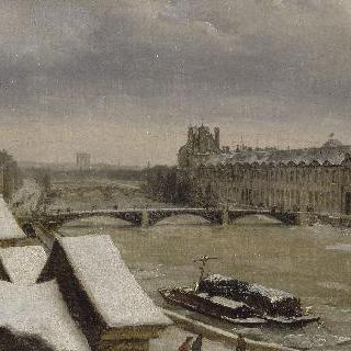 1840년 무렵 겨울, 루브르 그랑 갤러리 외부 풍경