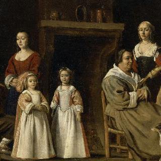 실내에서의 가족 초상