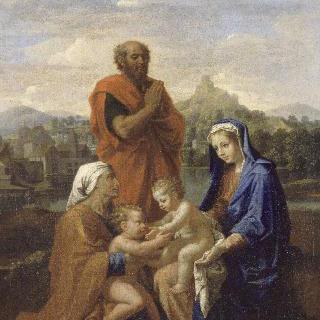 세례 요한과 성녀 엘리자베스, 기도하는 성 요셉이 있는 성 가족