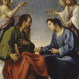두 천사로부터 왕관을 선사받으며 대화를 나누는 성 에티엔과 성 바오로