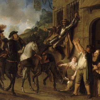 돈키호테 이야기 : 창살에 묶여있는 돈키호테